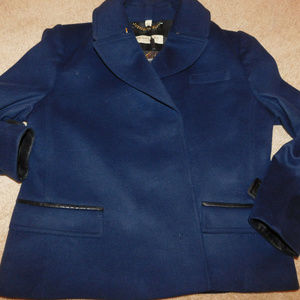 NWT BURBERRY Wool Cashmere Womens Peacoat Navy